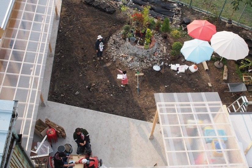 大阪市 アートな空間の中にある庭で様々な催し物に最適です。BBQ、鍋パーティー、餅つきに! の写真