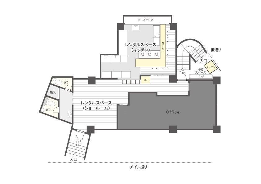 キッチンとショールームスペースをご利用いただけます。