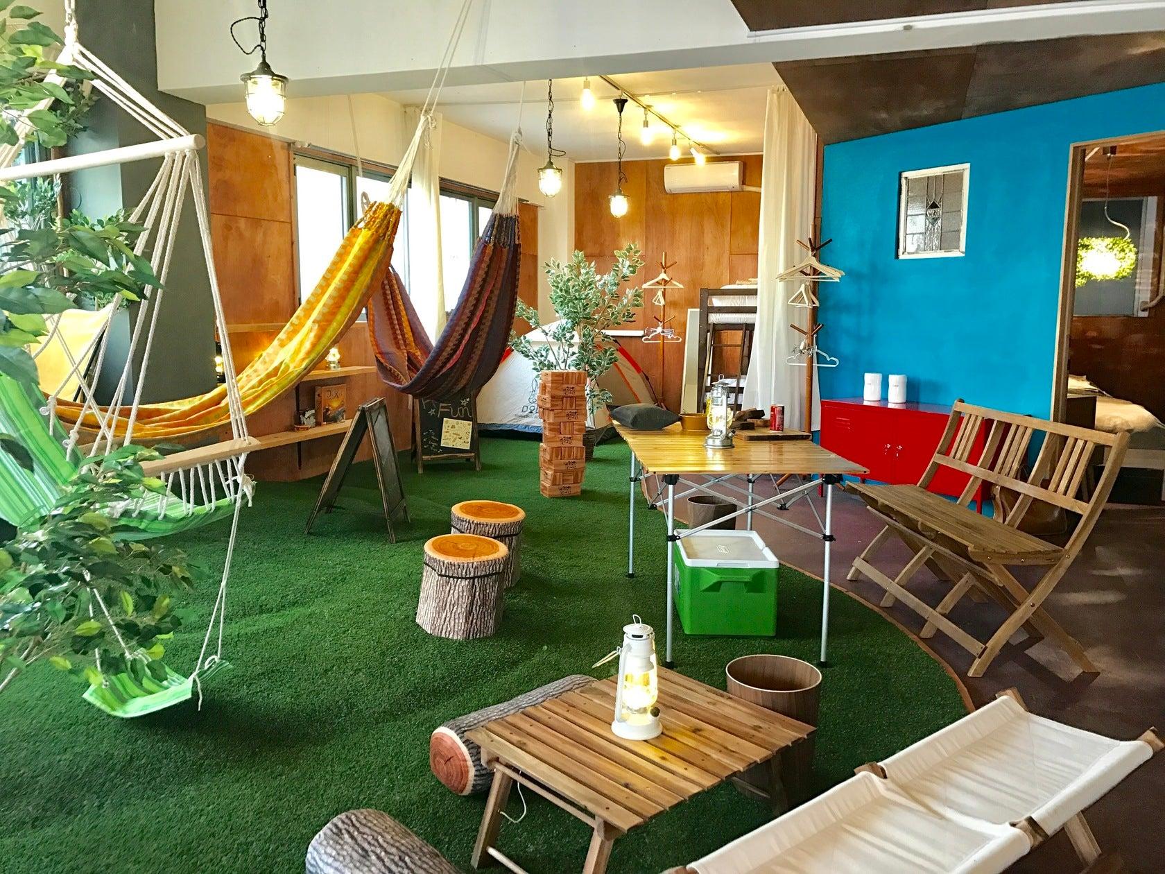 屋内キャンプ・グランピングが楽しめるスペースです☆ハンモック・ブランコ・テント・無煙ロースターあり のサムネイル