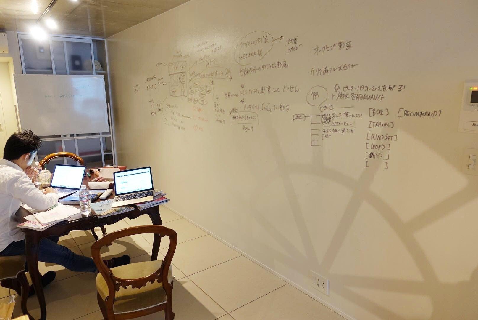 壁一面ホワイトボード施工をしておりますので、ブレインダンプや会議にピッタリです。