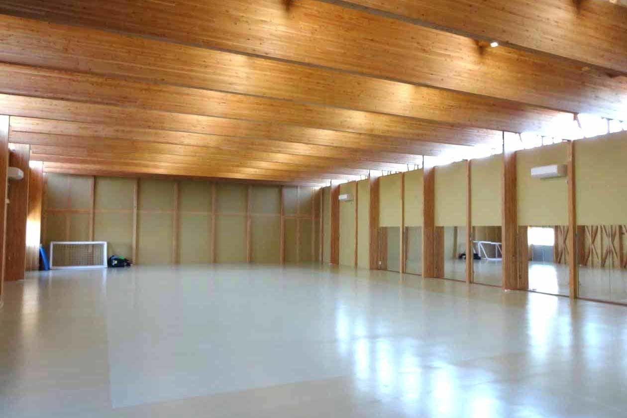 高い天井と大きな木梁のスポーツコートです。ヨガ、ダンス、空手、武術、撮影、セミナー、会議、教室など。(高い天井と大きな木梁のスポーツコートです。ヨガ、ダンス、空手、武術、撮影、セミナーなど。) の写真0