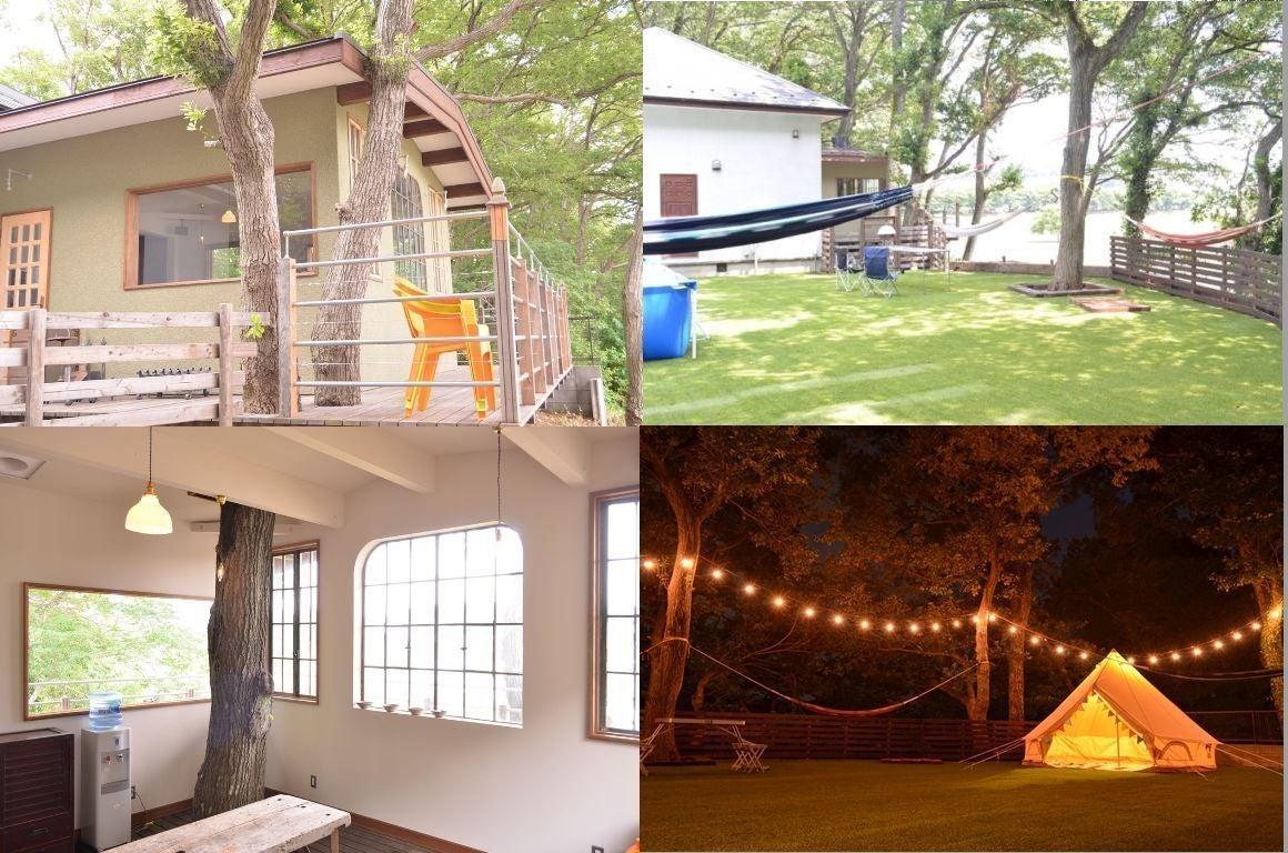 リバーサイドに建つ森の中の一軒家。パーティー、バーベキュー、グランピング、女子会、ママ会、演奏、撮影、イベント等様々な用途に!!(リバーサイドに建つ森の中の一軒家、庭60坪の人工芝。演奏、撮影、イベント、バーベキューなど) の写真0