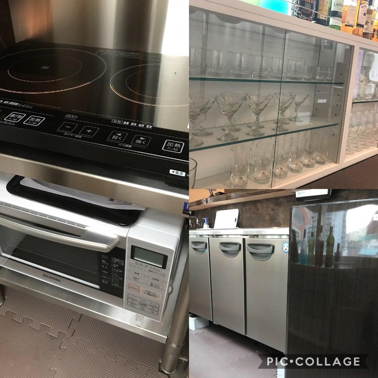 IHと電子レンジ・冷凍冷蔵庫は基本料金内でご利用いただけます。 グラス・お皿・カトラリー等をご利用の際は別途料金をいただいております。