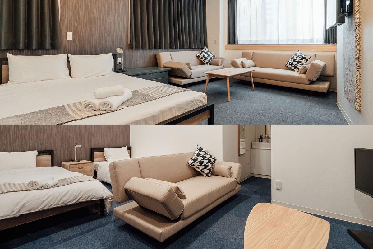ご家族・グループでのご利用に最適なコネクティングルームです♪(シングルベッド2・ダブルベッド1・ソファベッド4) の写真