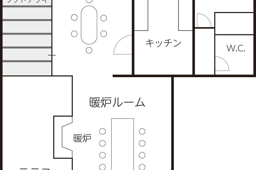 【 渋谷/代々木上原/駒場東大】メディアに多数登場!口コミ4.9以上!!暖炉つき広々リビングと独立キッチンのあるスペース。 の写真