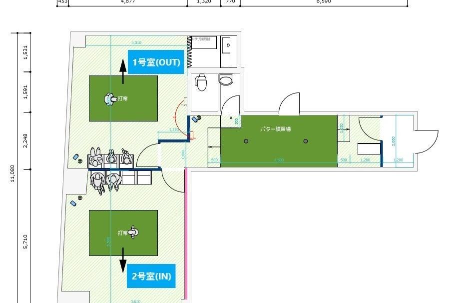 完全個室の室内ゴルフ練習場の2号室(IN)。シミュレーターを使ったゴルフ練習・レッスン会・イベントや撮影会に! の写真