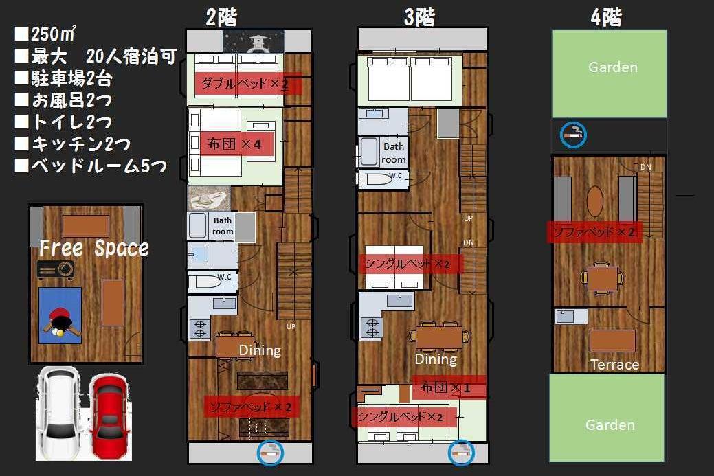 ★Nanairo House★広すぎる空間貸切!!250㎡超え・最大20人宿泊・研修合宿・サークル合宿・ホームパーティOK の写真