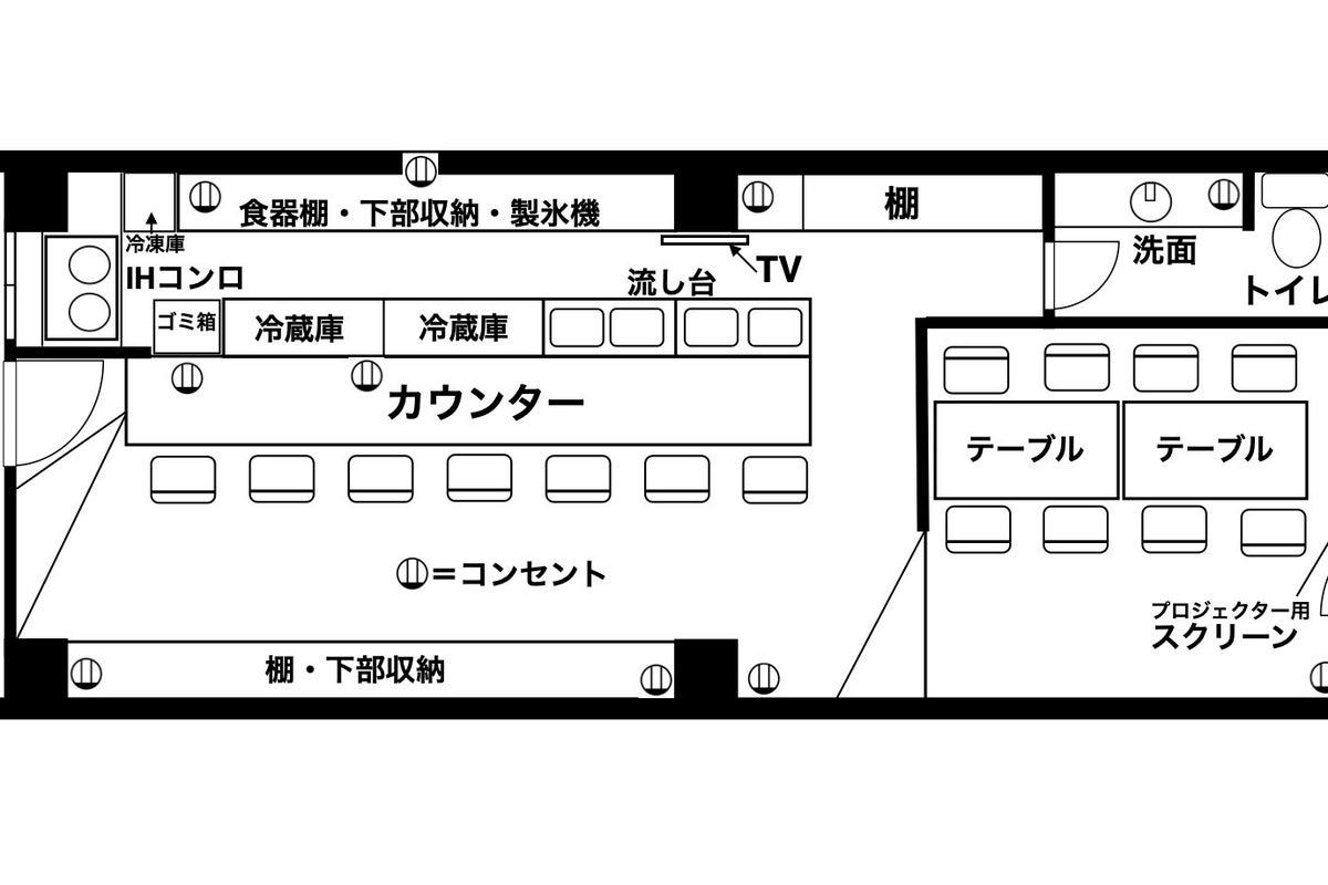 【レンタルスペースUNO】好評!南森町5分、キッチンカウンター・プロジェクター付き店舗型スペース!歓送迎会・オフ会・パーティ! の写真
