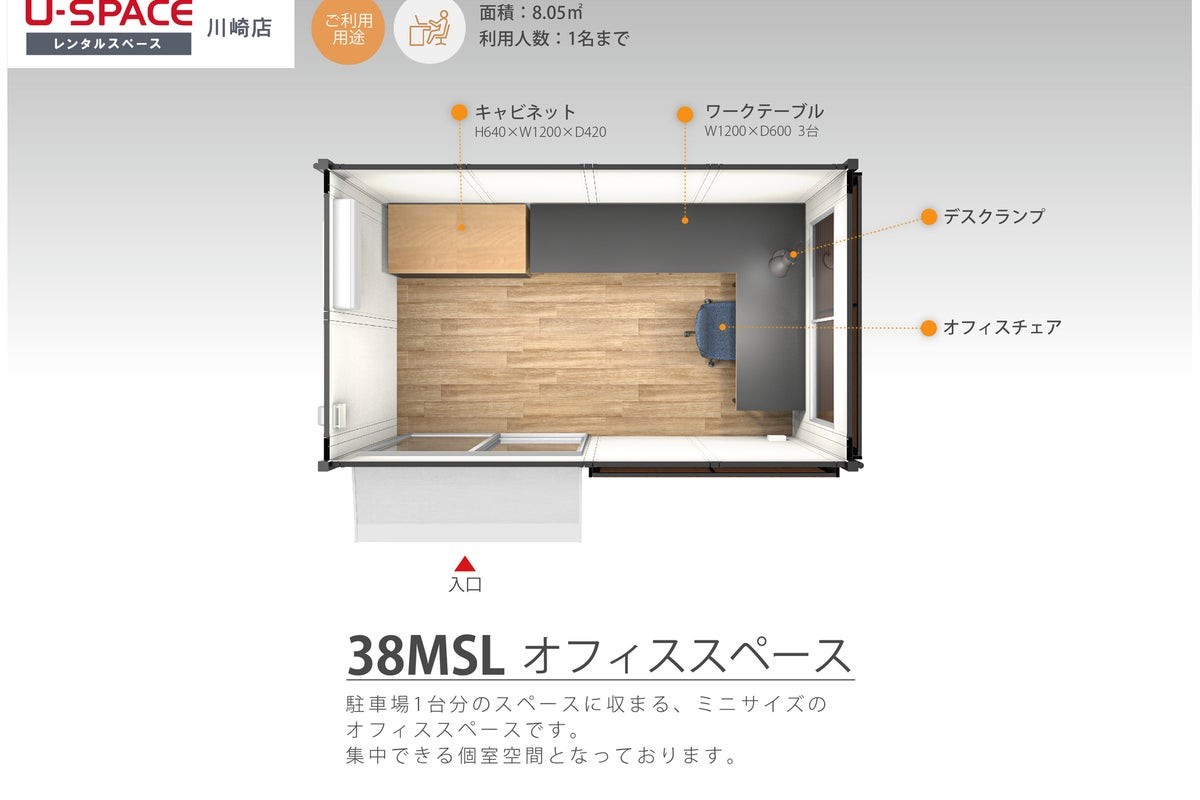 【38MSL】✨U-SPACE川崎店✨テレワークや一時的なオフィス利用に♪無料Wi-Fi/個室/川崎市/宮前区 の写真