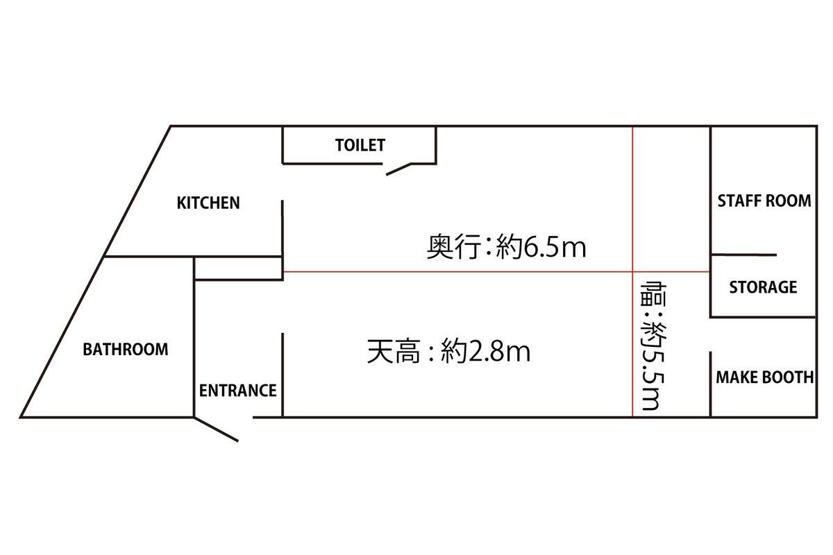 「撮影スタジオ」東新宿駅より徒歩5分 全身撮影OK 機材完備/メイクルーム/キッチン/バスルーム の写真